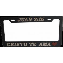 Porta placa Juan 3:16 Dorada