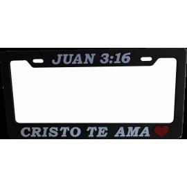 Porta placa Juan 3:16 Plata